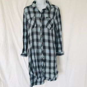Democracy Distressed Blue Plaid Shirt Dress Size M